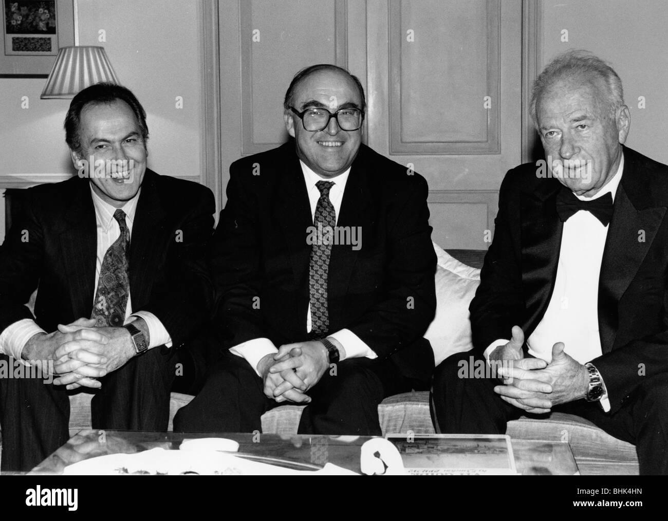 Jack Cunningham, MP, John Smith, Labour Party leader, Yitzhak Rabin, Israeli Prime Minister, 1992. Artist: Sidney - Stock Image