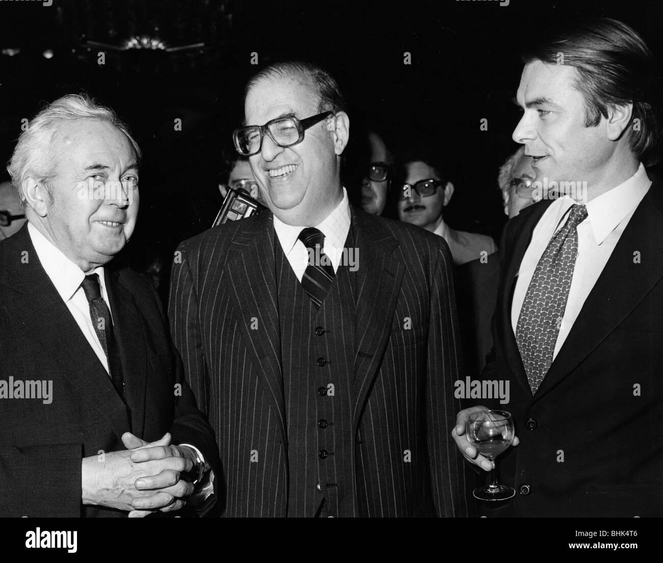 Abba Eban, Israeli foreign minister, Harlod Wilson, former PM, David Owen, Foreign Minister, 1979. - Stock Image