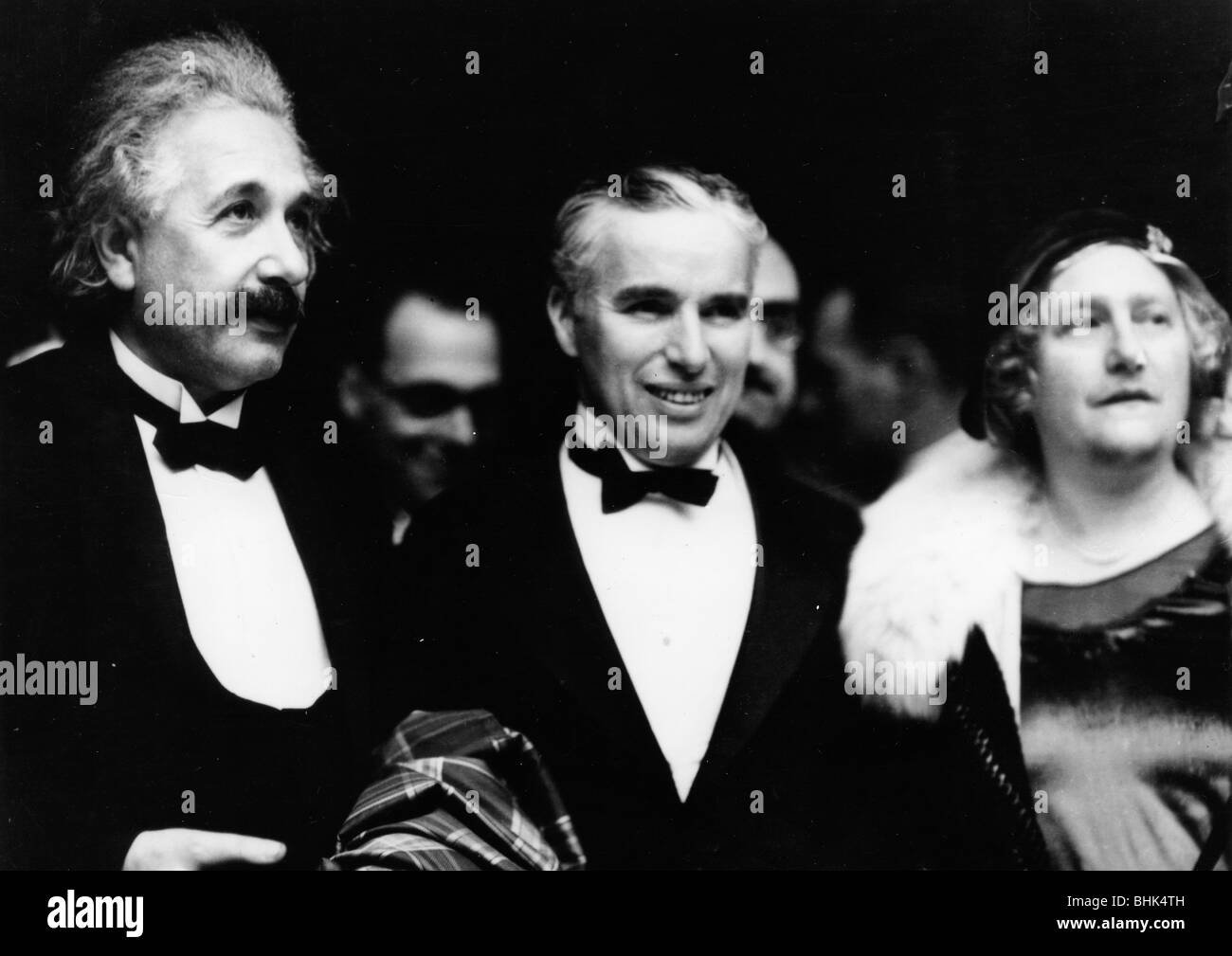 Albert Einstein (1879-1955) with his wife and Charlie Chaplin (1889-1977), 1931. - Stock Image