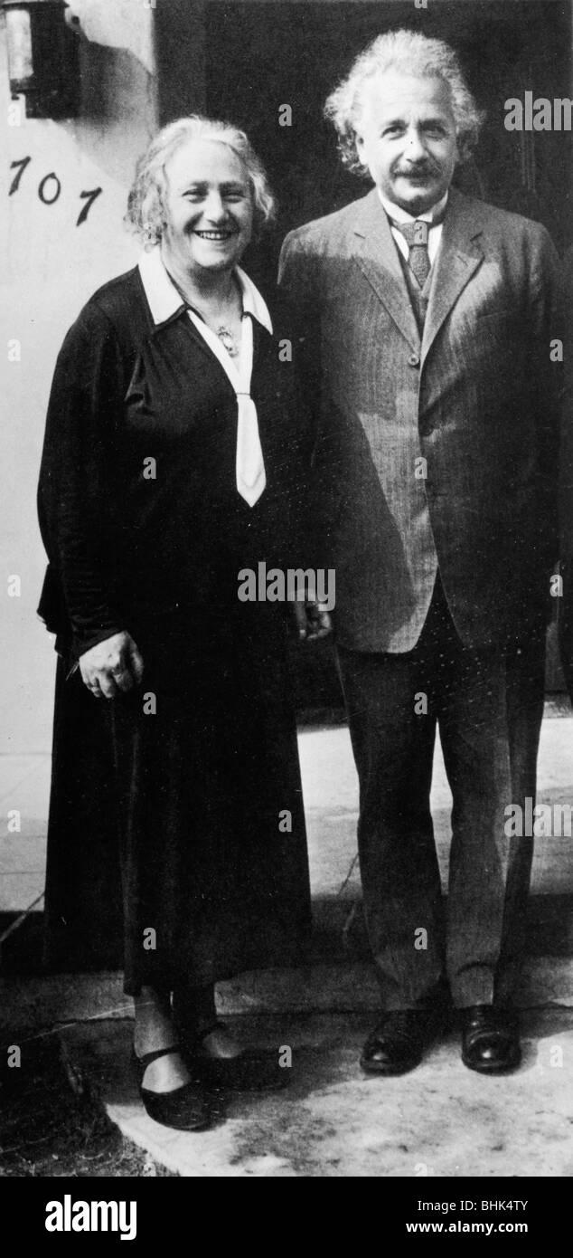 Albert Einstein (1879-1955) and Elsa Einstein. - Stock Image