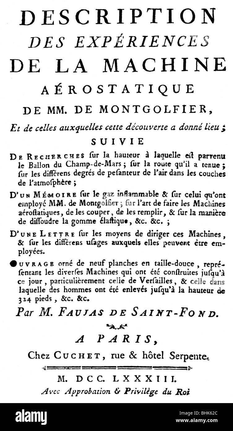 Faujas de Saint-Fond, Barthelemy, 17.5.1741 - 18.7.1819, French geologist, works, 'Description des experiences - Stock Image