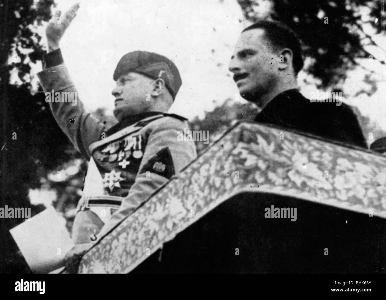 Sir Oswald Mosley with Benito Mussolini in Rome, 1933. - Stock Image
