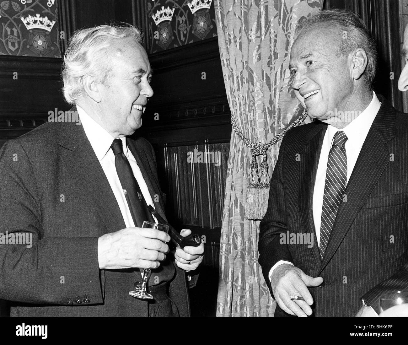 Yitzhak Rabin (1922-1995), Prime Minister of Israel  with Harold Wilson, Former PM of Britian, 1982 Artist: Sidney - Stock Image