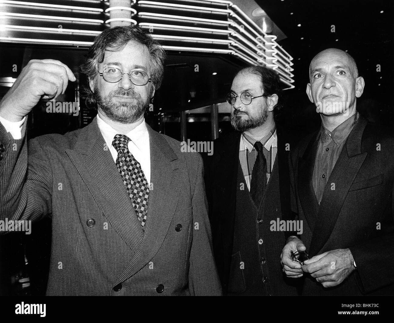 Steven Spielberg (1947- ), Salman Rushdie (1947- ), Writer, and Ben Kingsley (1943- ), Actor. Artist: John Nathan - Stock Image