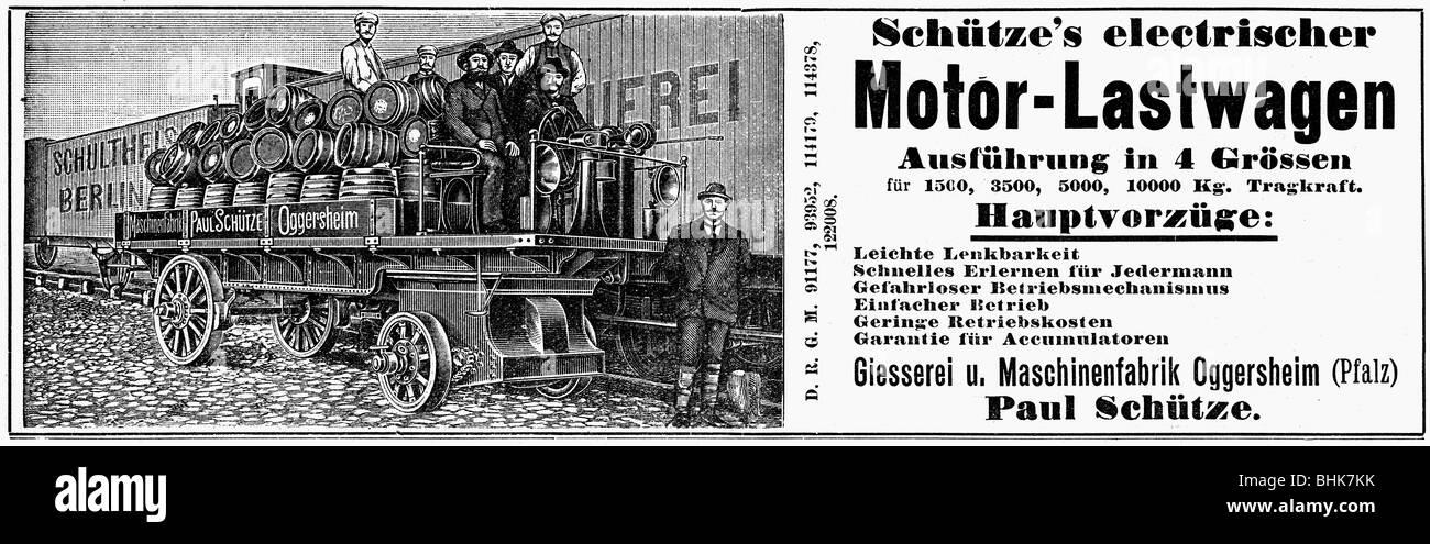 advertising, cars, Schuetze's electrical motor lorry, Oggersheim, advert, 'Fliegende Blaetter', 1900, - Stock Image