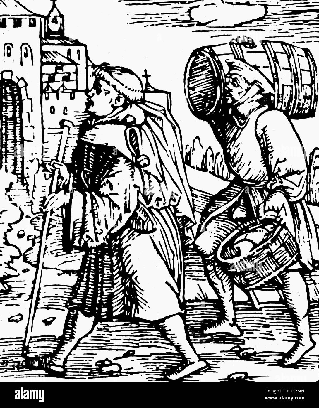 money, taxes, tithe, peasant bringing tributes to a monastary, woodcut, Germany, 1522, Additional-Rights-Clearances - Stock Image