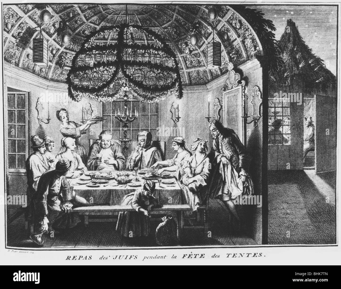 Jewish festival of Sukkot, early 18th century. Artist: Bernard Picart - Stock Image