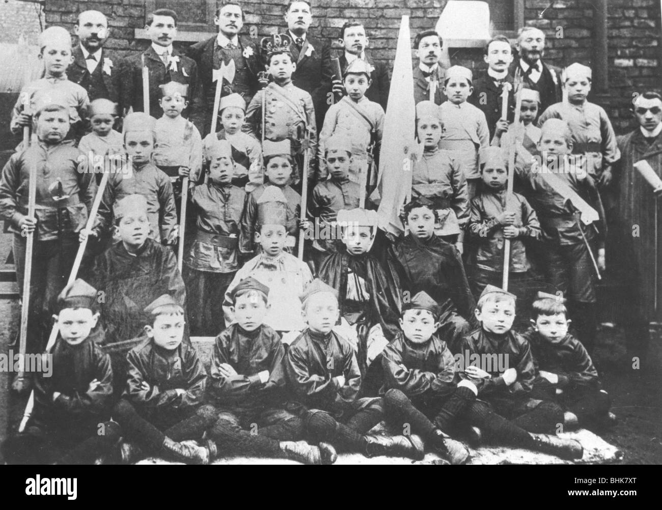 Boys in fancy dress for Purim, before 1914. - Stock Image