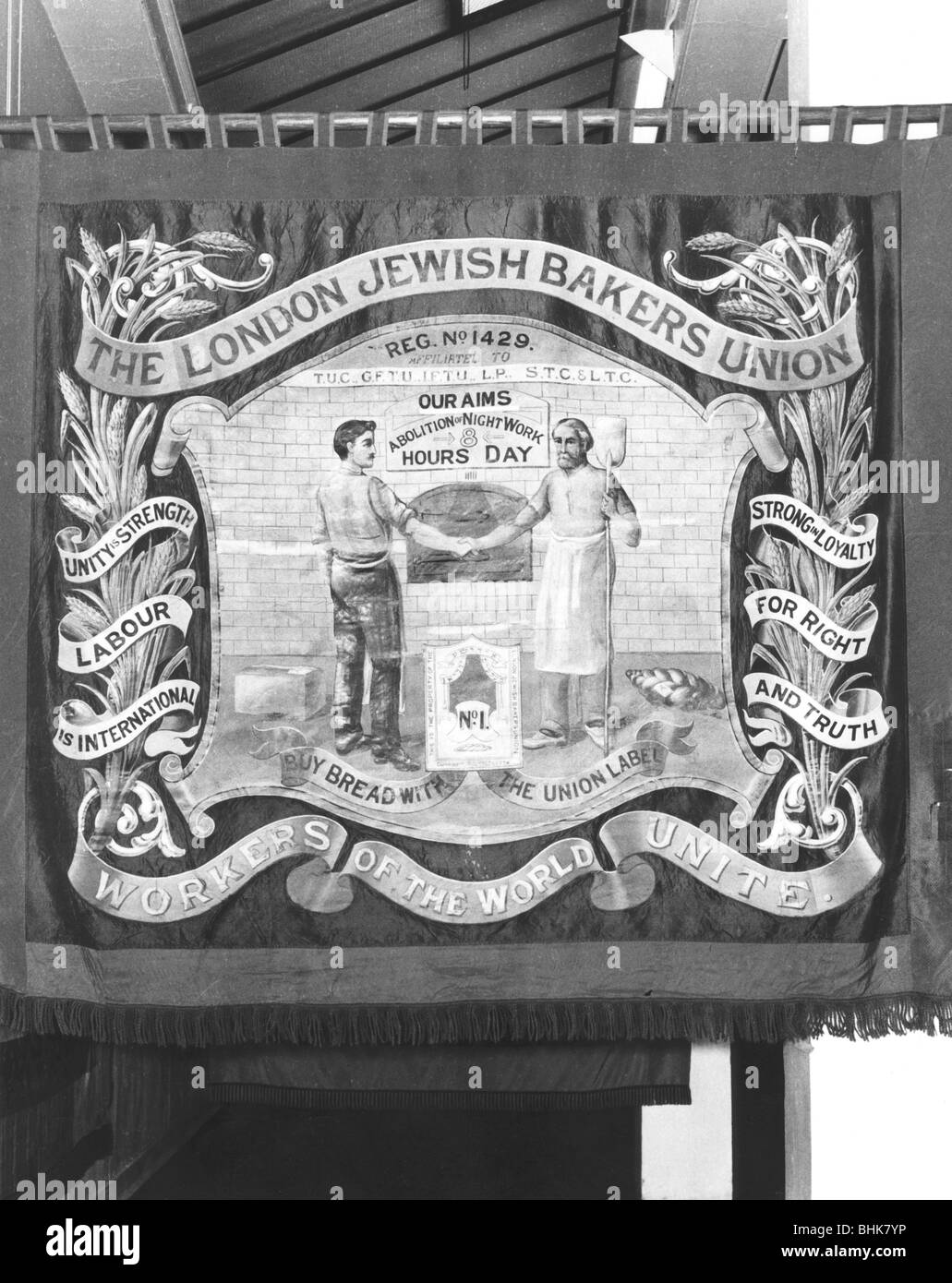 The London Jewish Bakers' Union Banner, (c1900?). - Stock Image