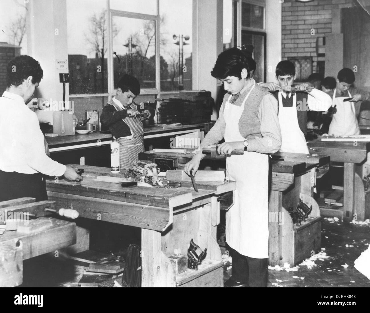 Carpentry class at the Jewish Free School, 1960s. - Stock Image