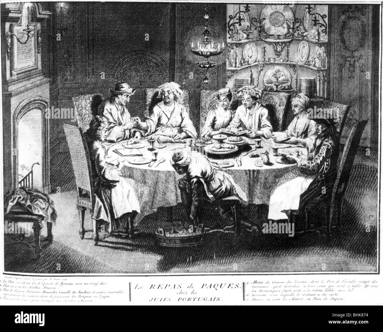 Portuguese Jews at Passover, (18th century?). - Stock Image