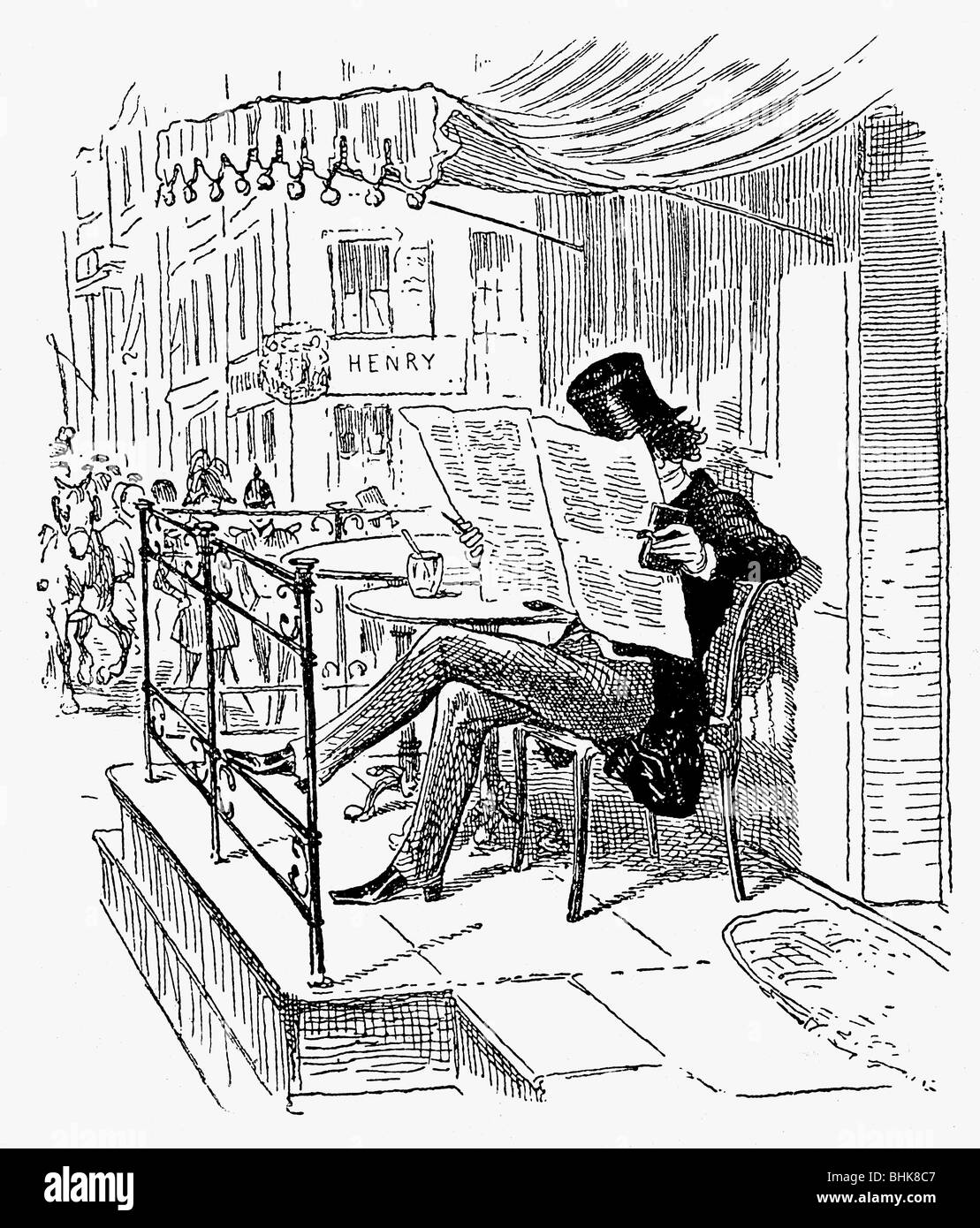 press, newspapers, reader, 'Mister Fisher in front of Cafe Kranzler', drawing by Theodor Hosemann, Berlin, - Stock Image