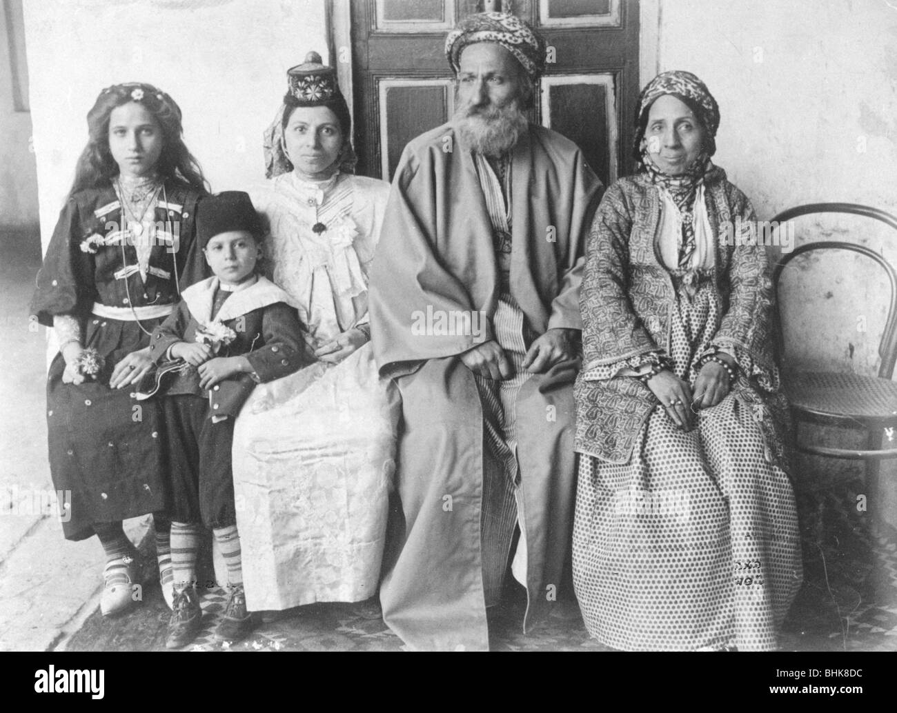 Jewish family in Baghdad, 1910. - Stock Image