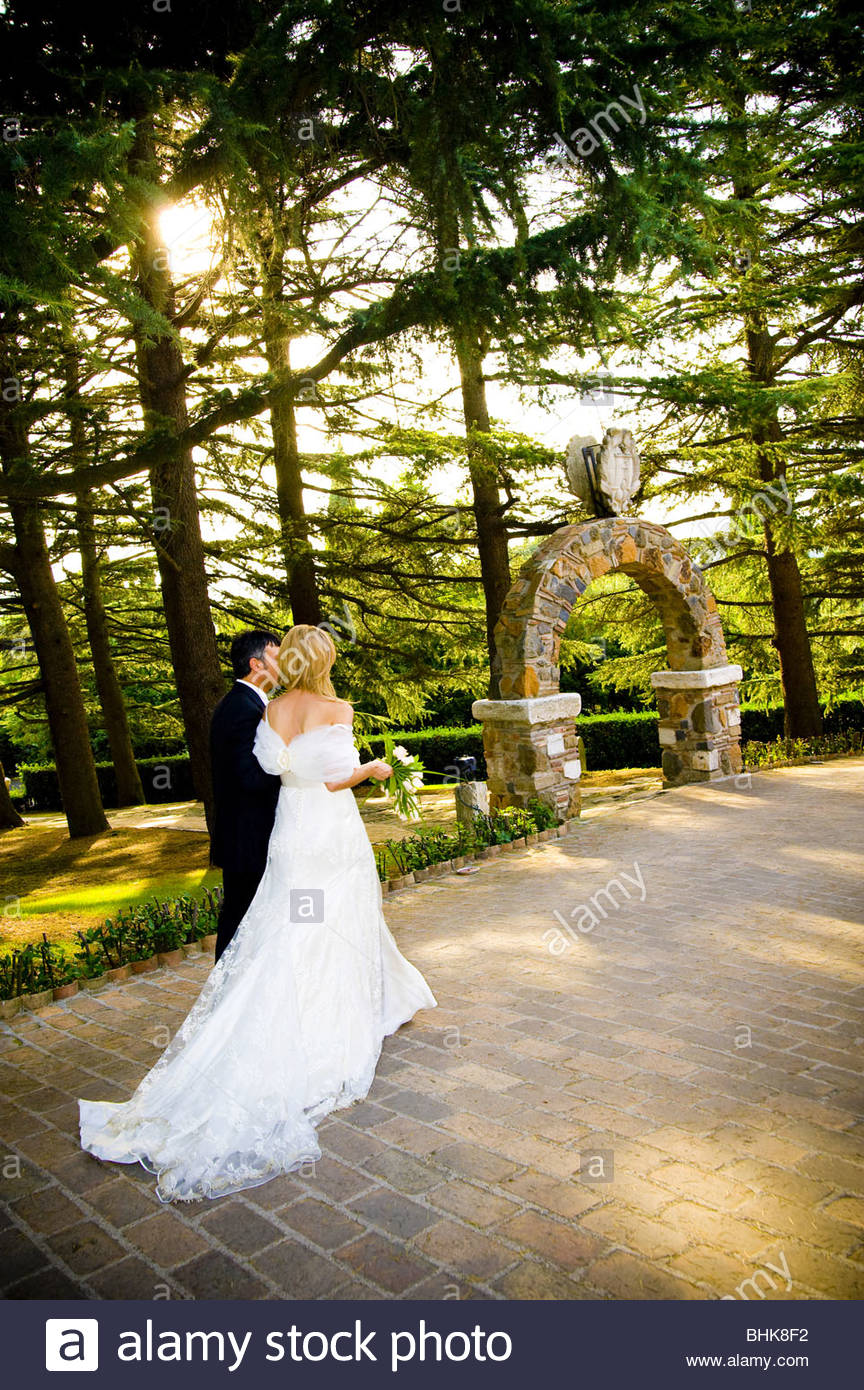 Bride and groom walking hand in hand in a park - Stock Image
