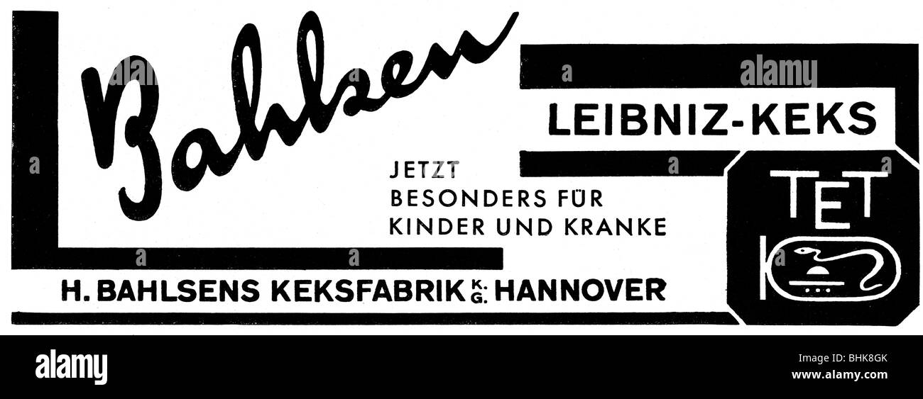 advertising, food, pastries, Balsen Leibniz biscuits, Balsen KG, Hanover, advert, 'Atlantis', June 1942, - Stock Image