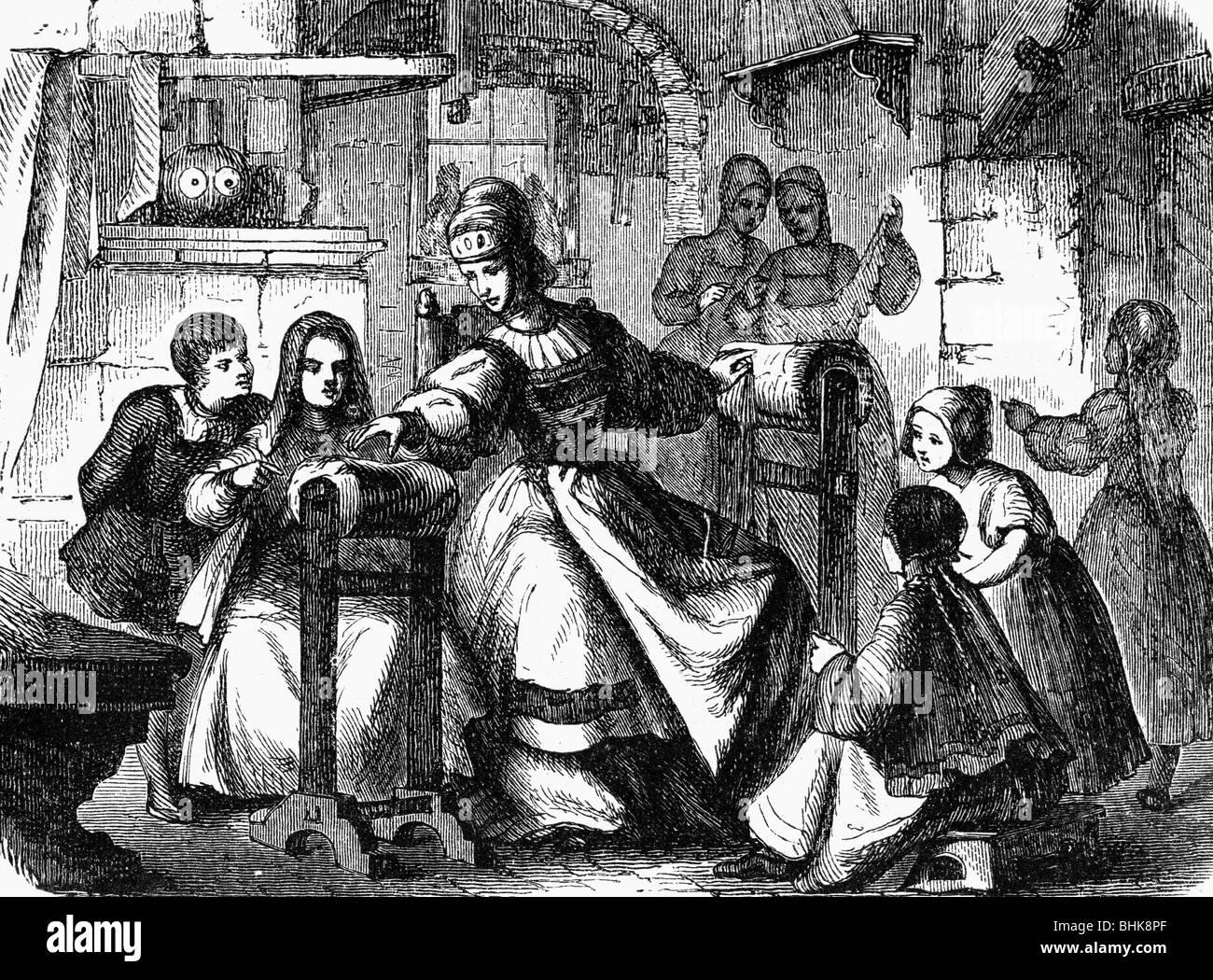 Uttmann, Barbara, 1514 - 15.10.1575, German businesswoman, teaching to make bobbin lace, wood engraving, 19th century, - Stock Image