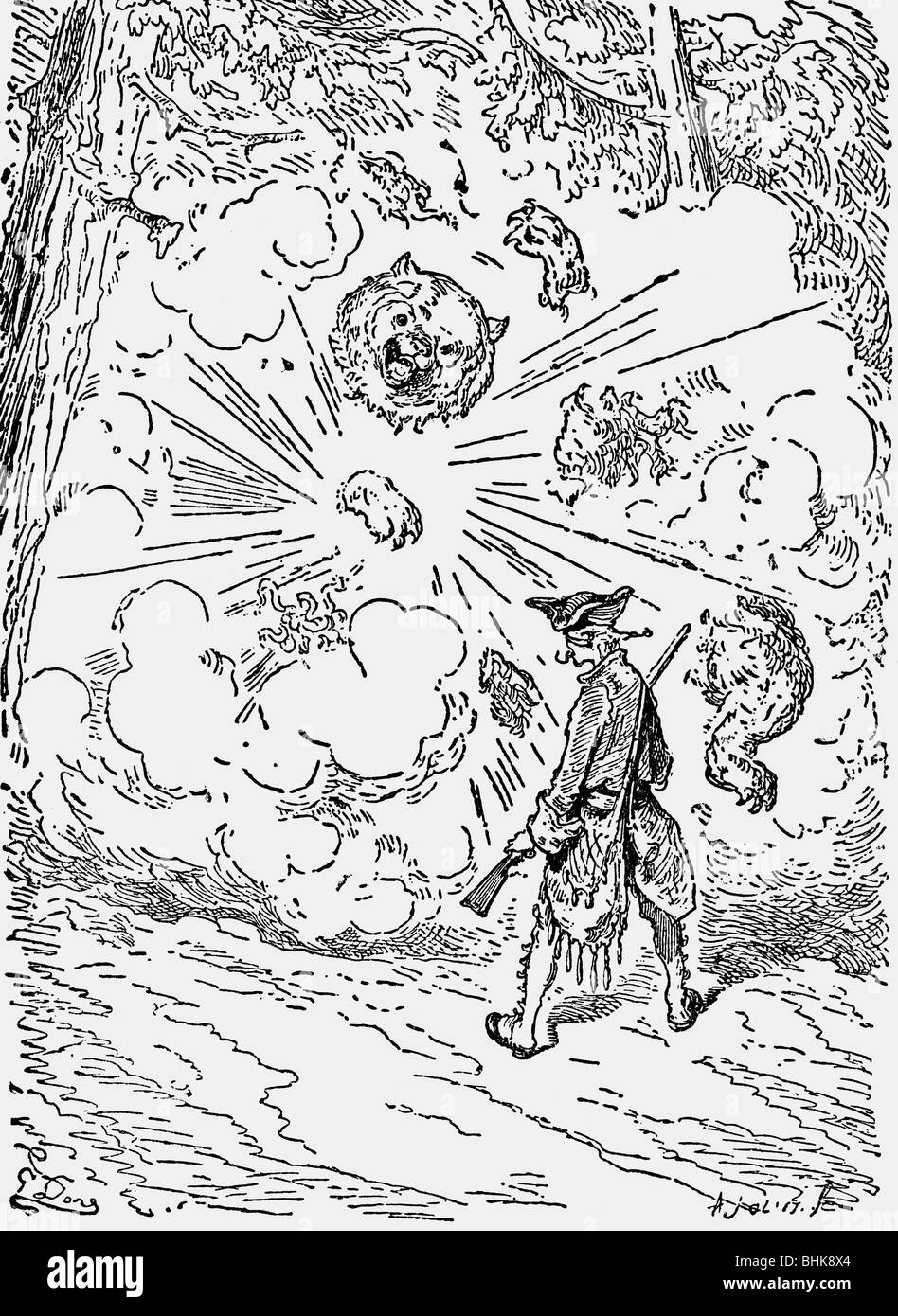 Munchhausen, Karl Friedrich Hieronymus von, 11.5.1720 - 22.2.1797, German officer, adventures, the exploding bear, - Stock Image