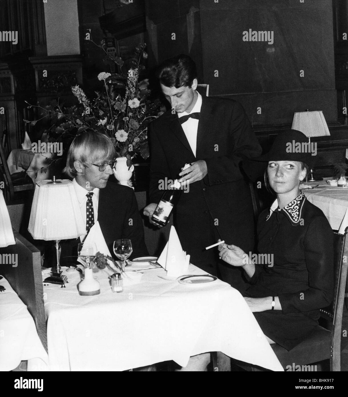 gastronomy, inns, waiter serving wine, July 1970, Additional-Rights-Clearances-NA - Stock Image