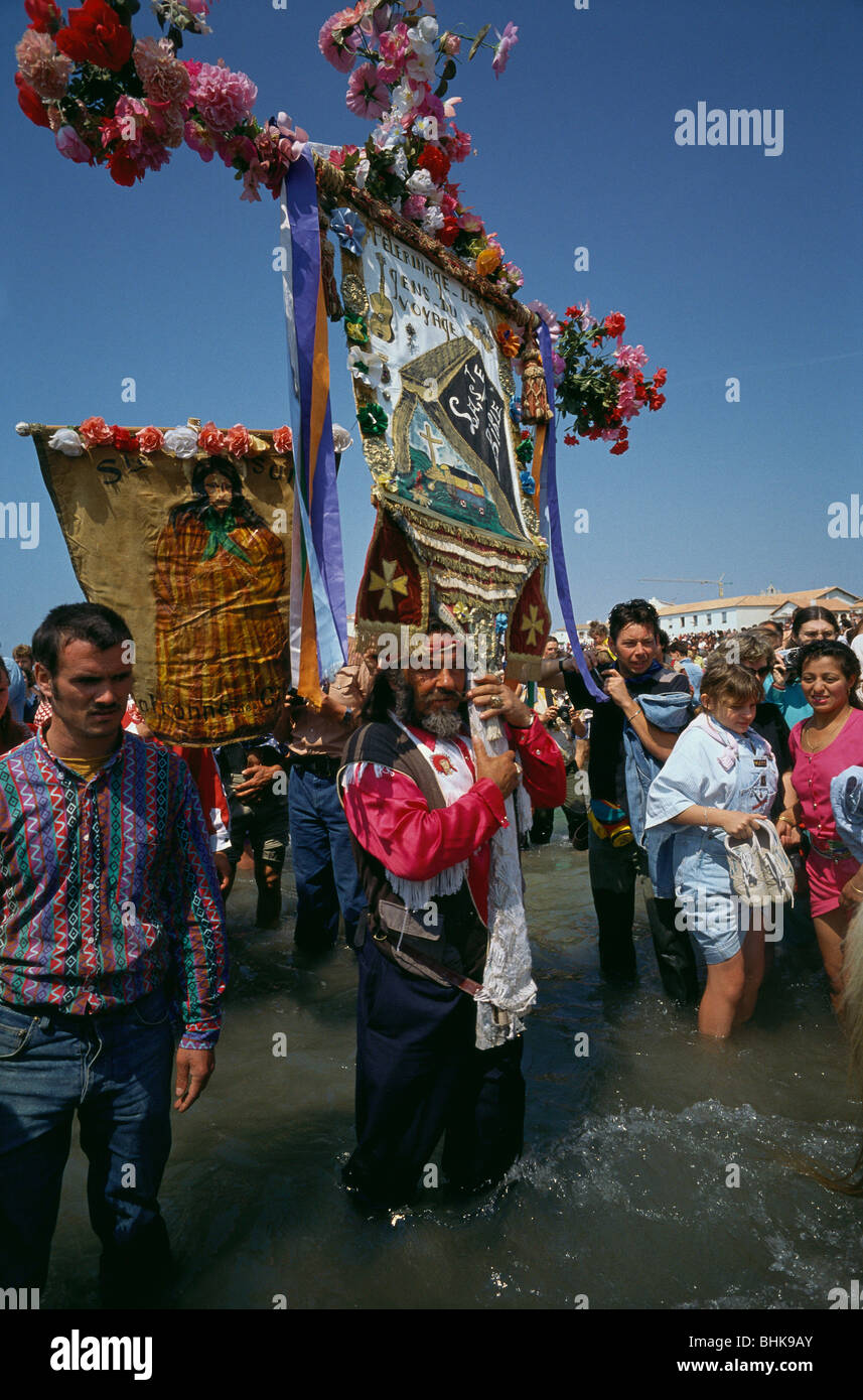 Saintes Maries de la Mer. Camargue. France. Annual Gypsy Pilgrimage Pelerinage des Gitans. - Stock Image