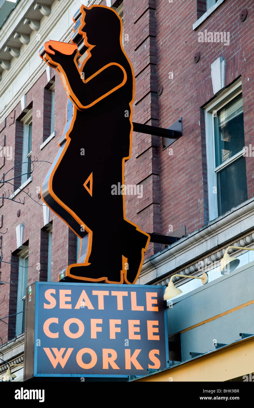 Coffee bar neon sign, Seattle, Washington, USA - Stock Image