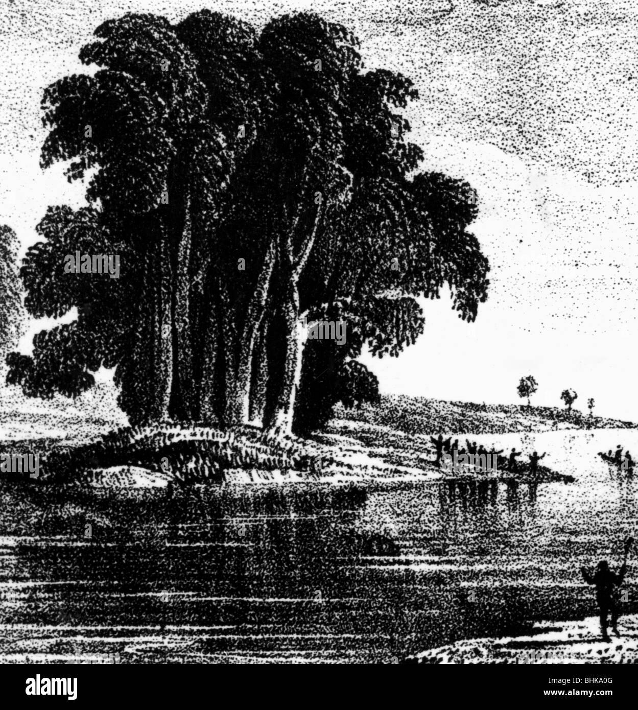 Sturt, Charles, 28.4.1795 - 16.6.1869, British explorer of Australia, scene, Sturt discovers the Darling River, - Stock Image