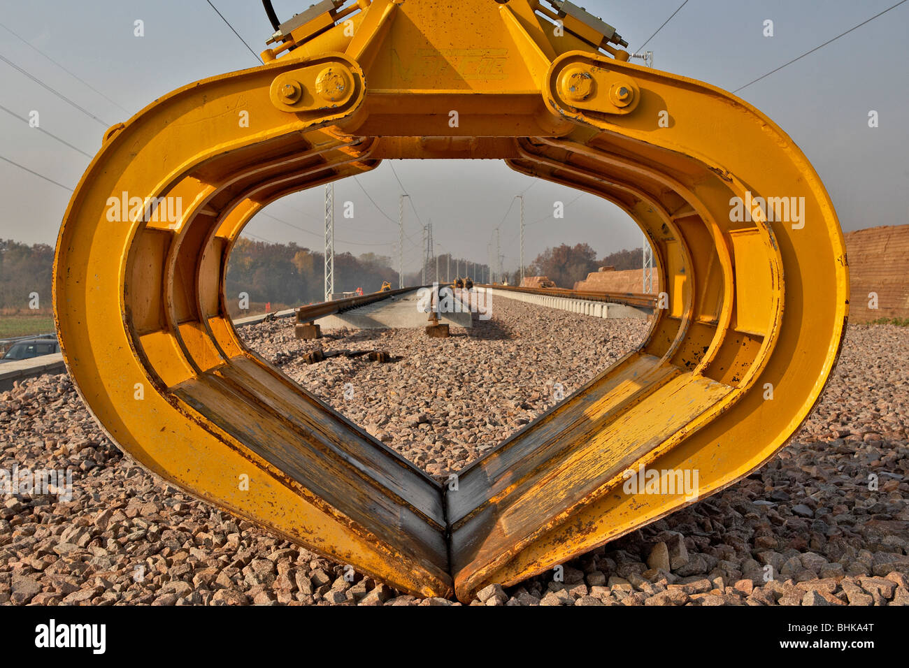 Grapple picking, Construction Site of High Speed Railway from Milan to Turin, Italy - Stock Image