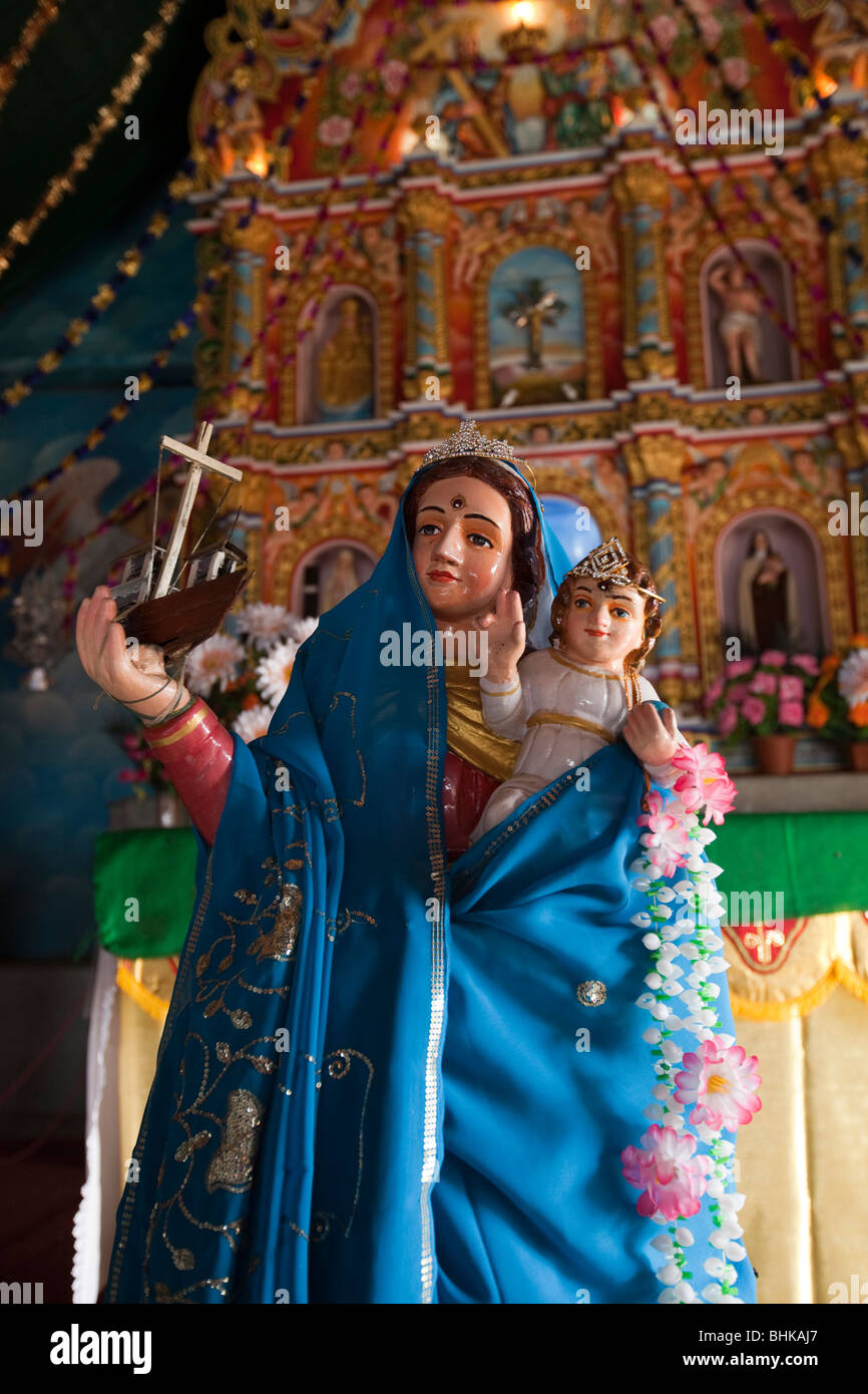 India, Kerala, Kovalam, Vizhinjam village, old St Mary's church, Our Lady of the Voyages - Stock Image