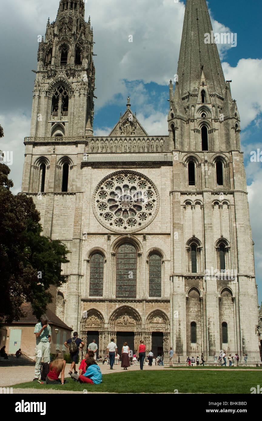 Chartres, France - Notre Dame Cathedral, Tourists Visiting Front, Facade, Stock Photo