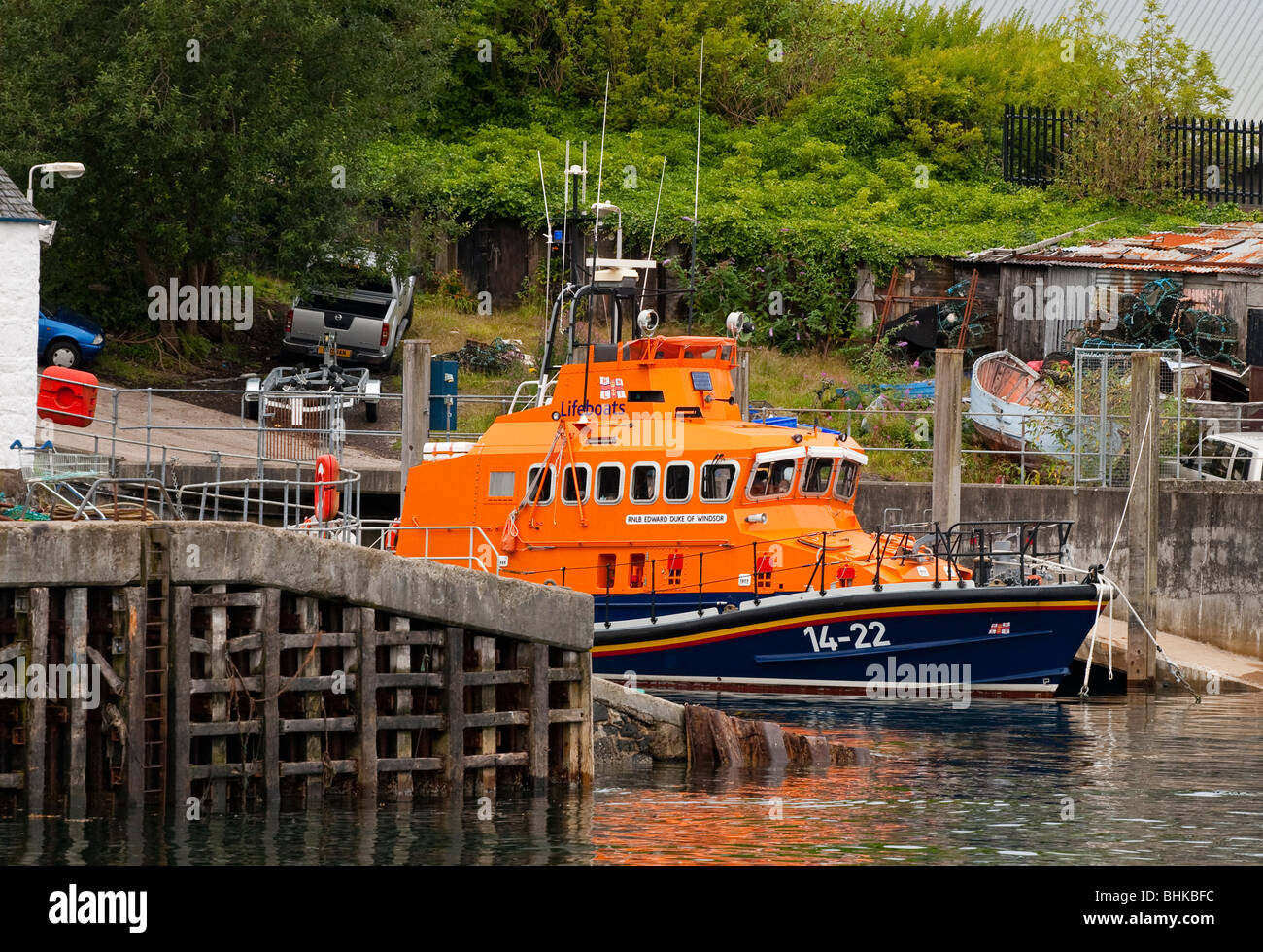 RNLI  All Weather  ALB Lifeboat Edward Duke of Windsor 14-22 moored at Oban Lifeboat Station in Argyll in western - Stock Image