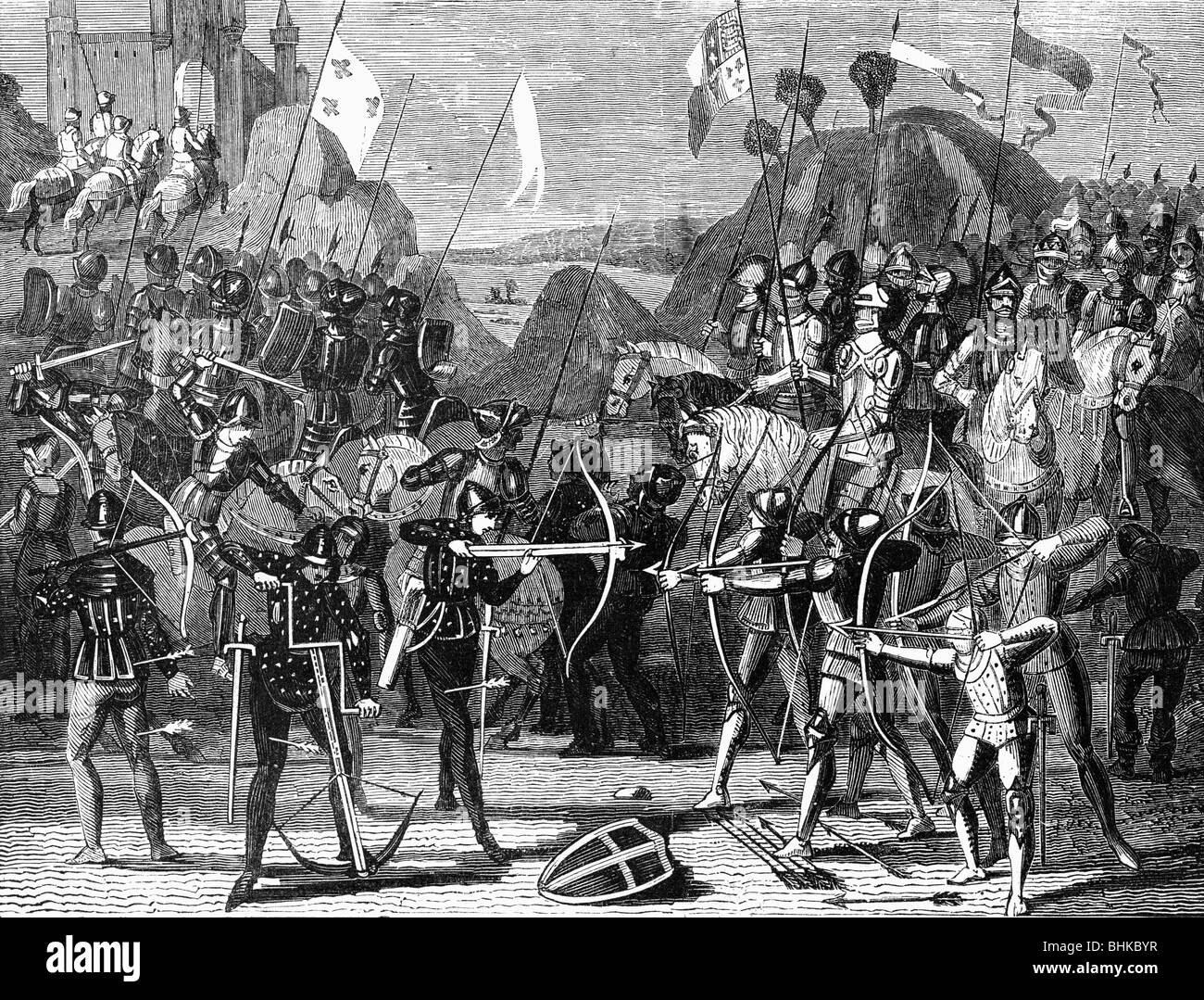 events, Hundred Years' War 1337 - 1453, Battle of Crecy, 26.8.1346, wood engraving, 19th century, middle ages, - Stock Image