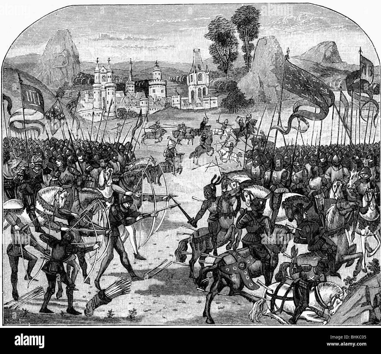 events, Hundred Years' War 1337 - 1453, Battle of Poitiers, 19.9.1356, Chronicles of Jean Froissart, 14th century, - Stock Image