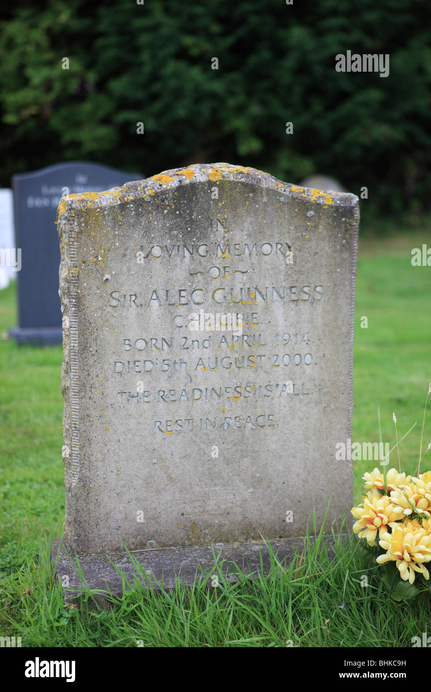 The gravestone of Sir Alec Guinness, who died in August 2000, and who was an actor famous for many roles. Stock Photo