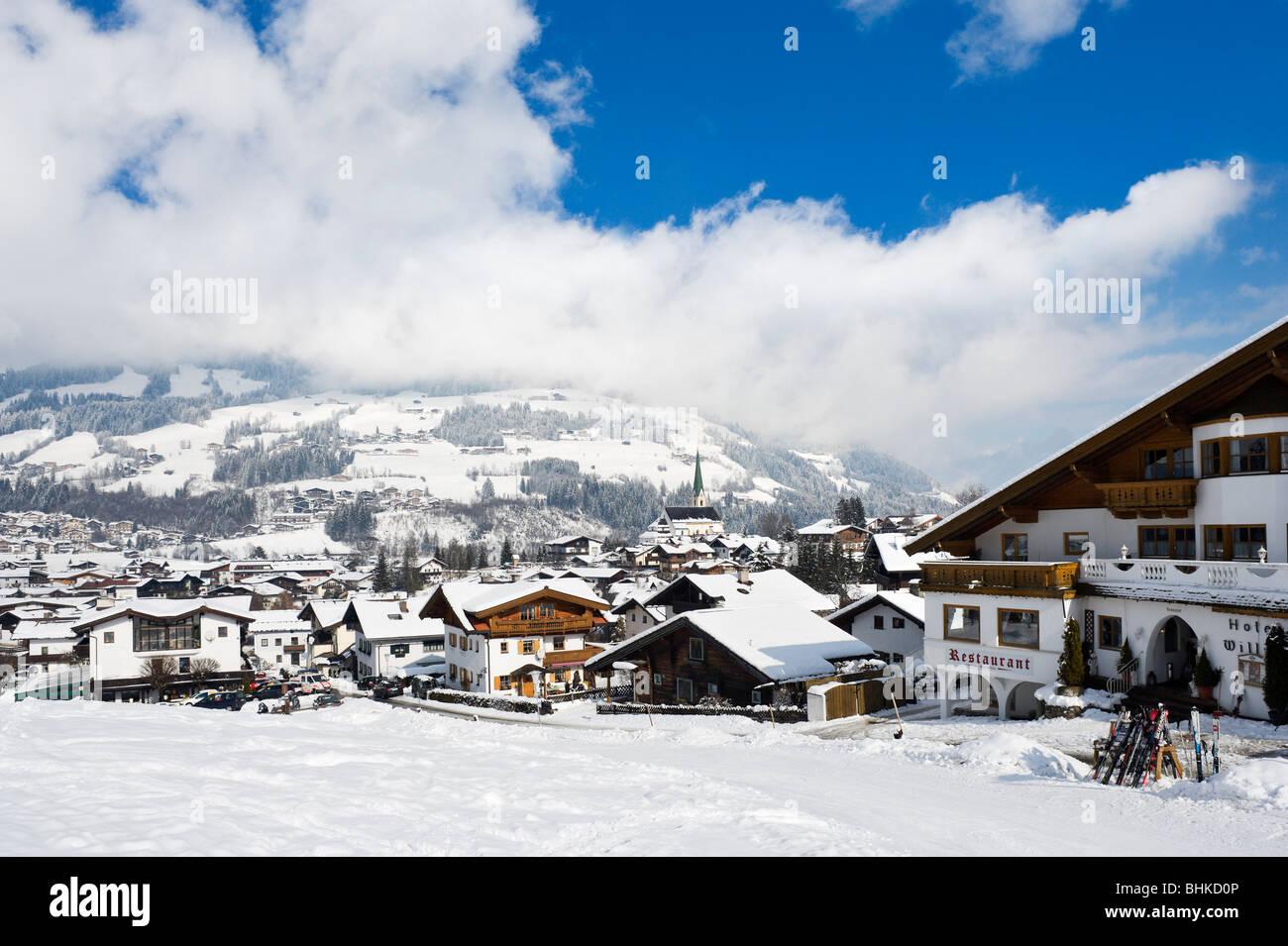 View over the resort from the bottom of the slopes, Kirchberg, near Kitzbuhel, Tyrol, Austria - Stock Image