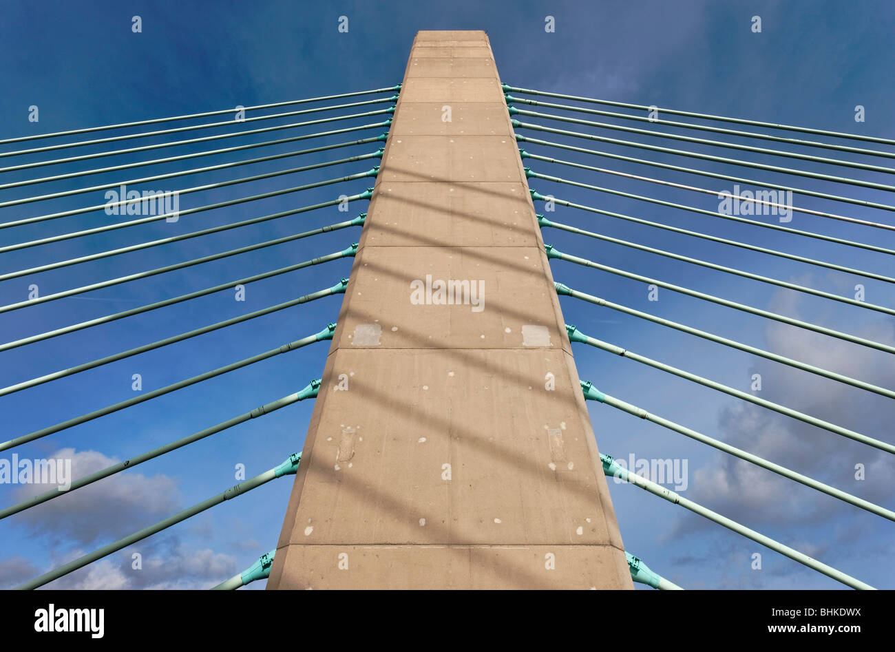 Cable support mast on the Second Severn Crossing bridge. - Stock Image
