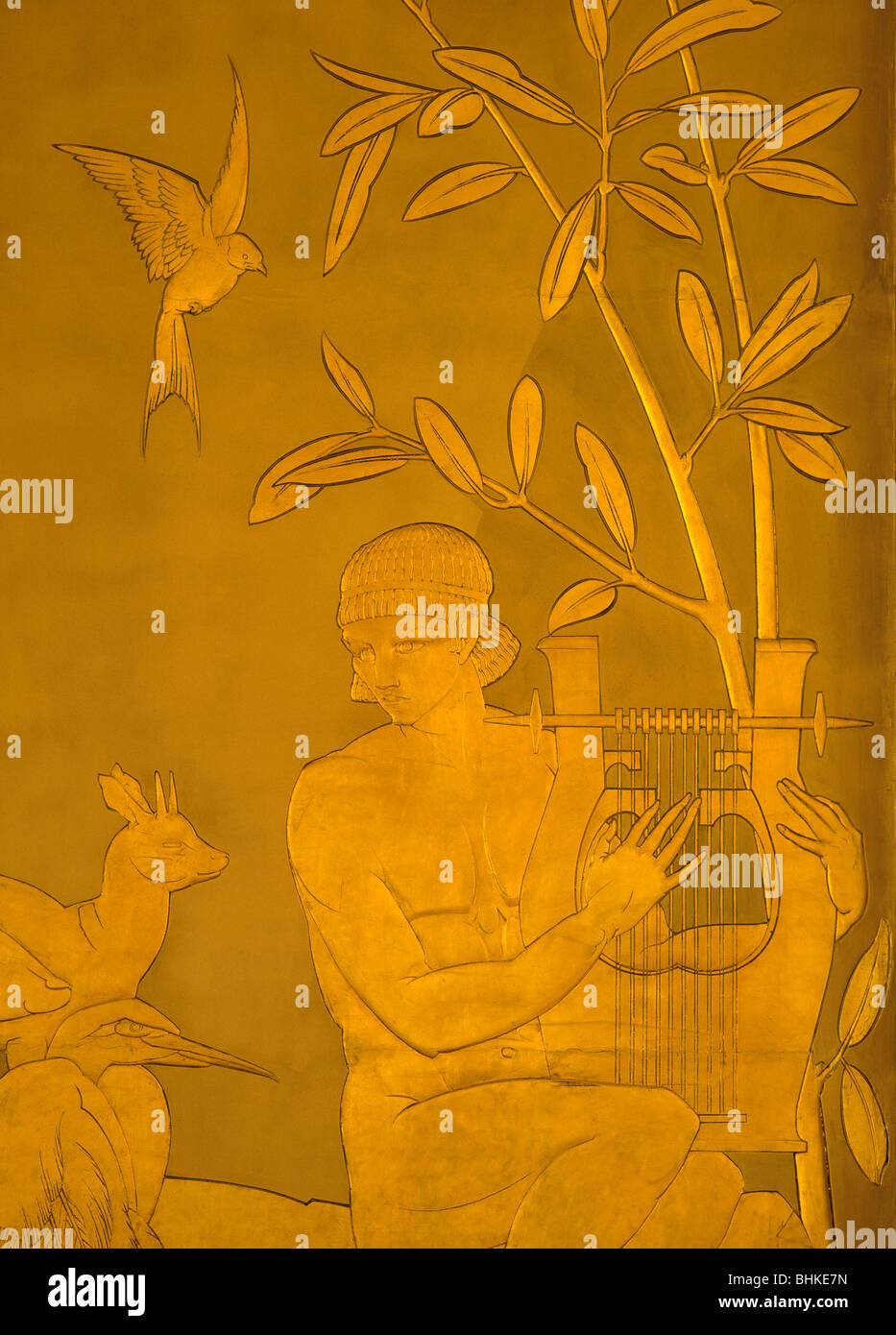 Art Deco frieze by Edmund C. Thompson at the Philharmonic Hall in Liverpool. - Stock Image