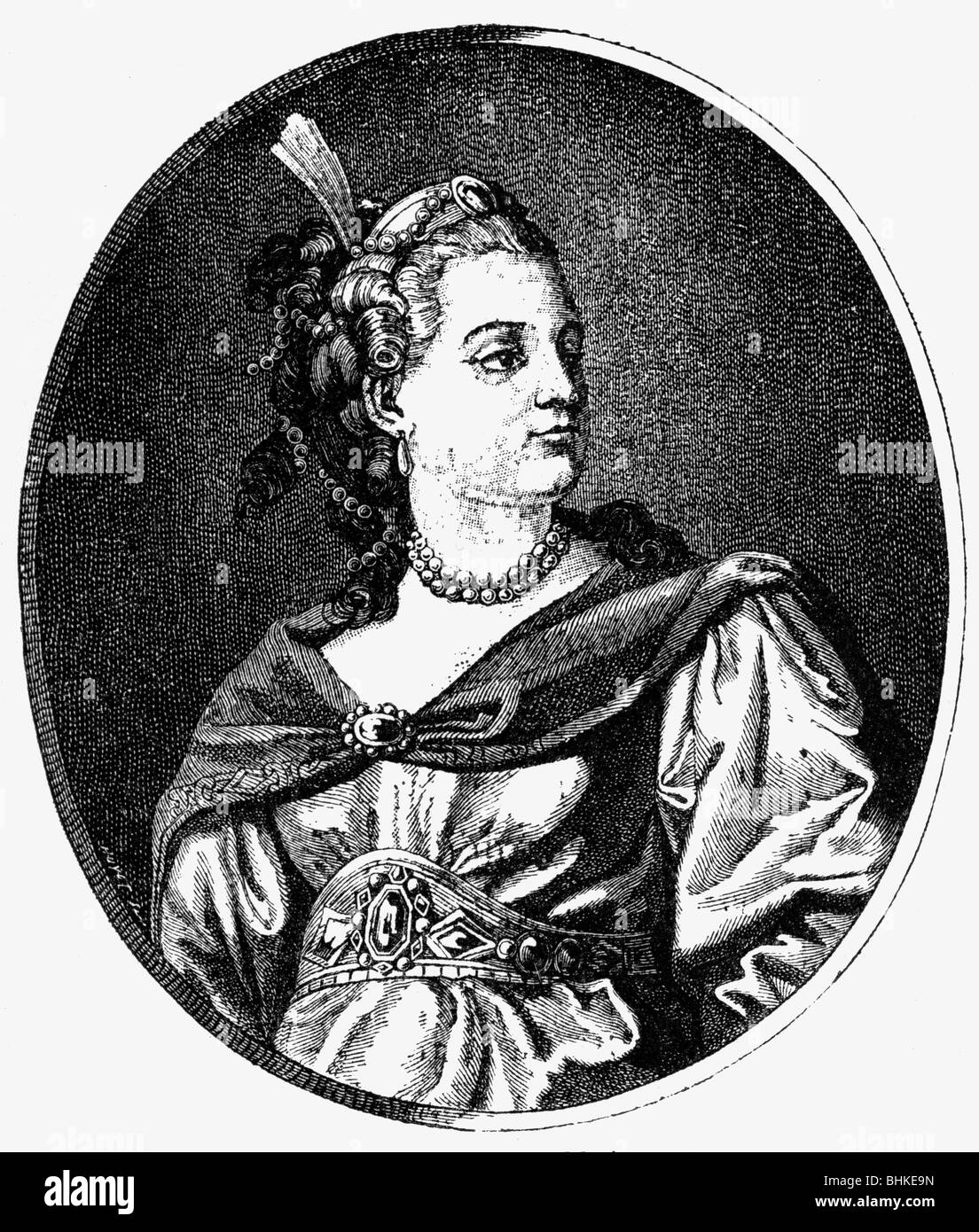 Clarion, Claire, 25.1.1723 - 18.1.1803, French actress, portrait, wood engraving after Schenau, 1766, , Additional - Stock Image