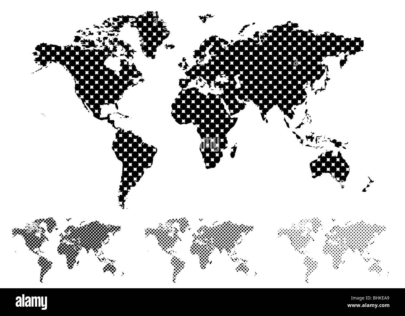 Black and white halftone map of the world with different tint values Stock Photo