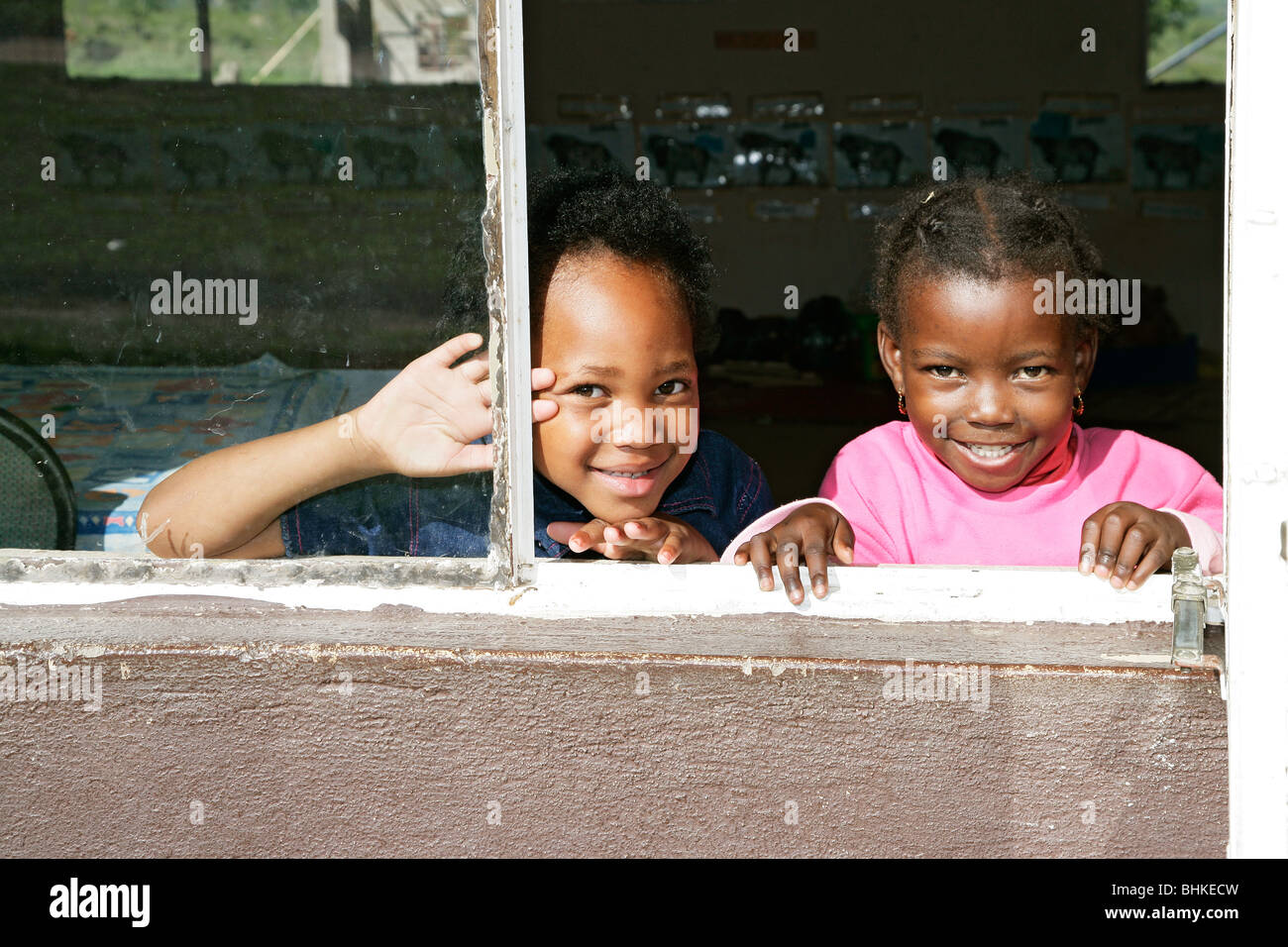 Black South African School Children Looking Out Of A School Window Stock Photo Alamy