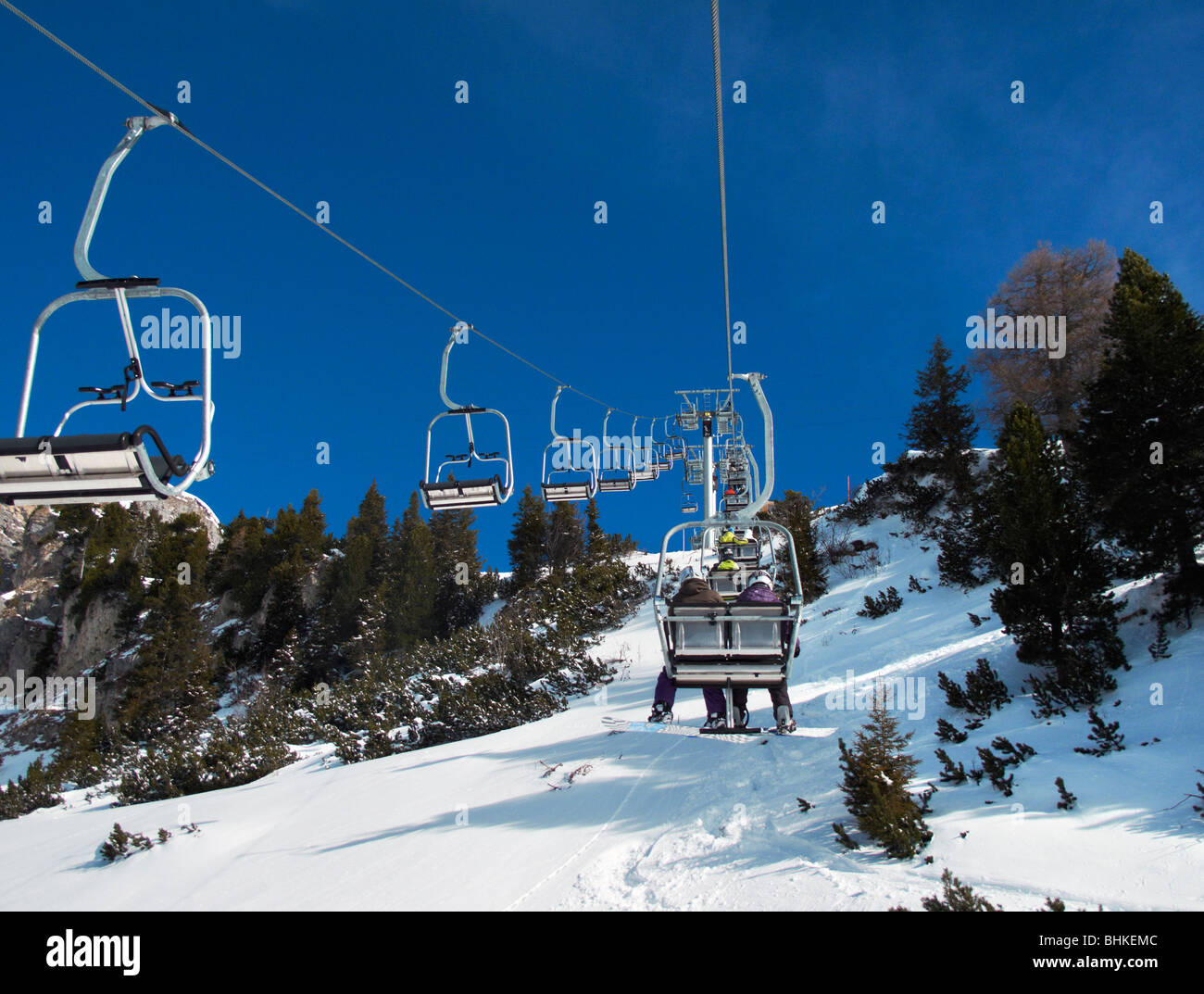 Chairlift at the top of the Rofanseilbahn, Maurach, Lake Achensee, Tyrol, Austria - Stock Image