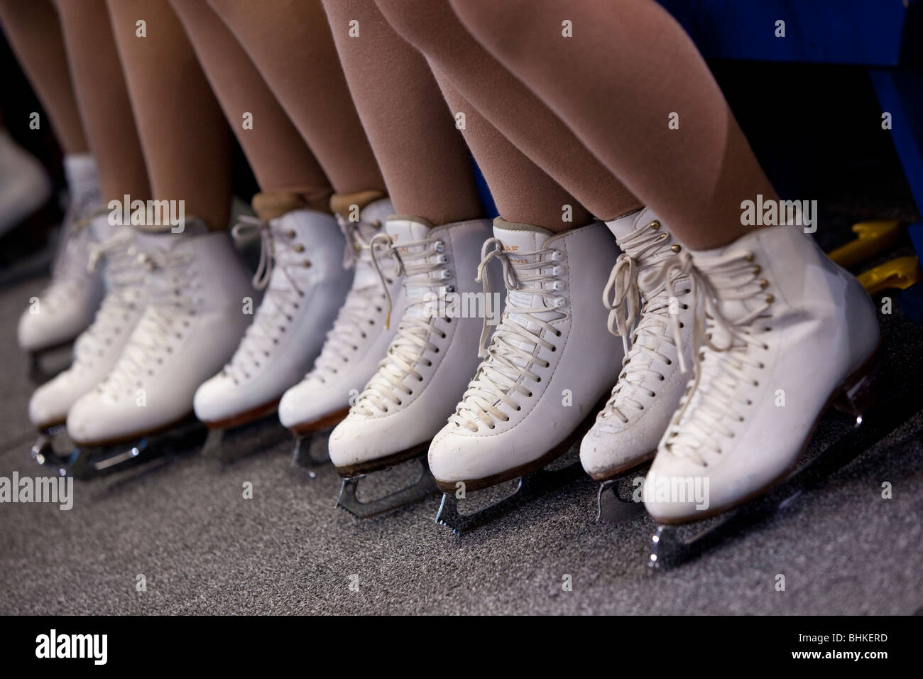 Detail of the skates of the flower girls during the the pairs free event at the 2010 Olympic Winter Games - Stock Image