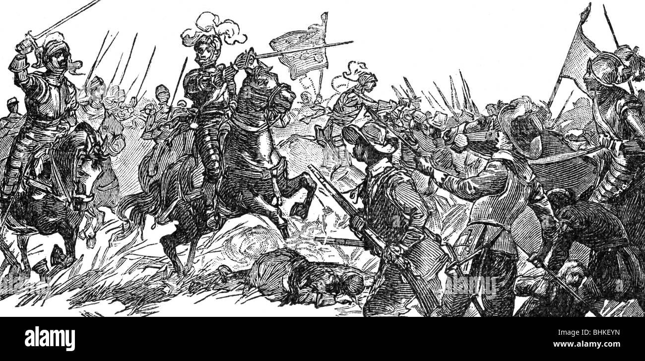 Henry IV, 13.12.1553 - 14.5.1610, King of France 27.2.1594 - 14.5.1610, in the Battle of Fontaine-Francaise, 5.6.1595, - Stock Image