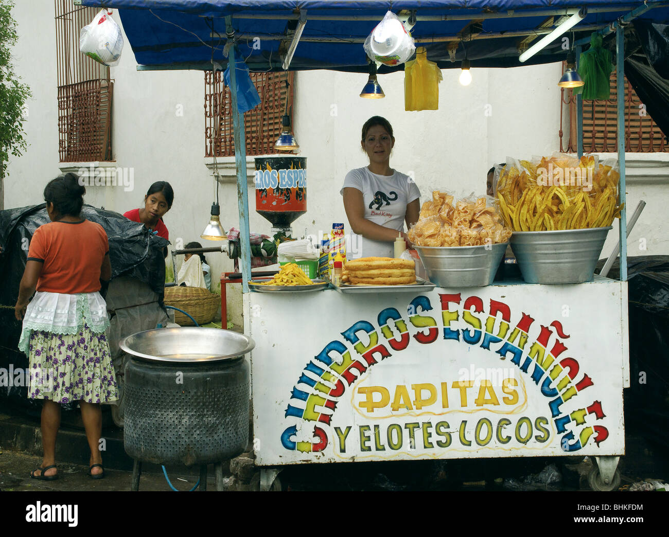 El Salvador Selling Food In The Street Stock Photo Alamy