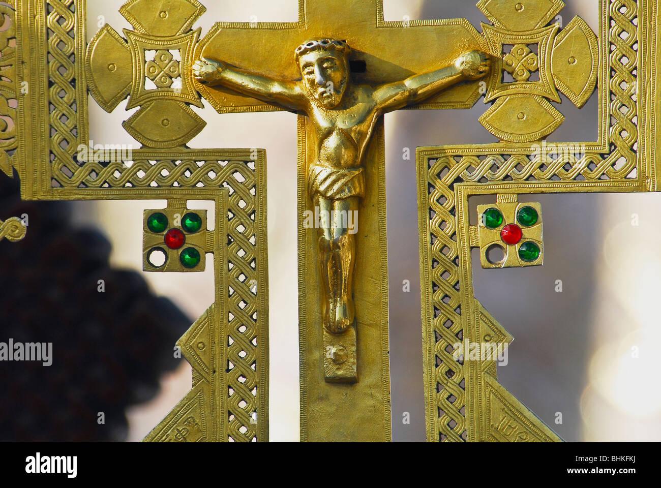 Brass crucifix on an Ethiopian ceremonial cross. - Stock Image