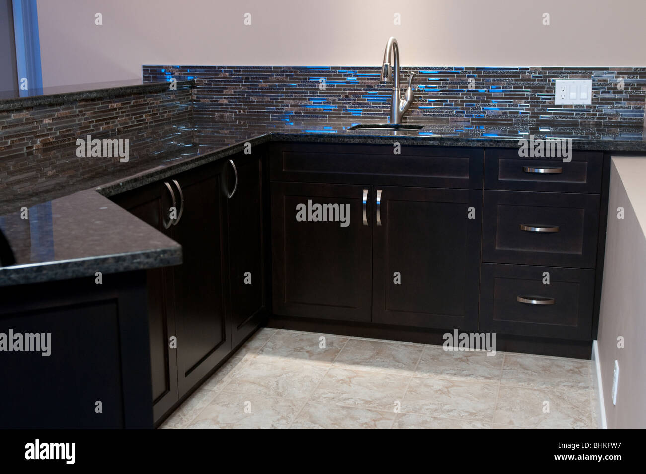 Wet Bar Stand Behind With Sink Cupboards Dishwasher And Mini Fridge Stock Photo Alamy