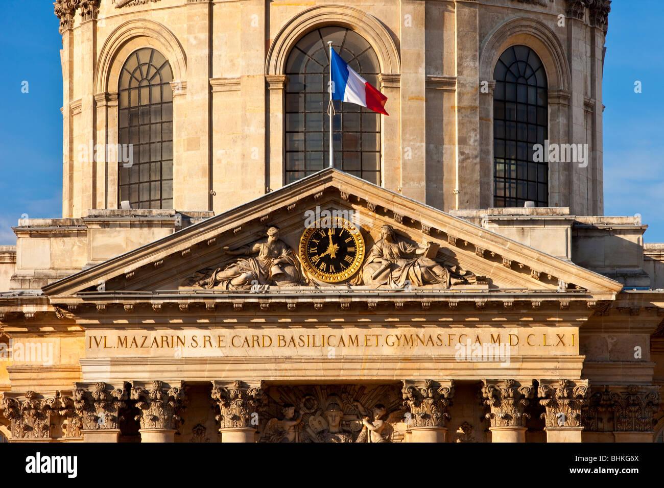 Academie Francaise along River Seine, Paris France - Stock Image