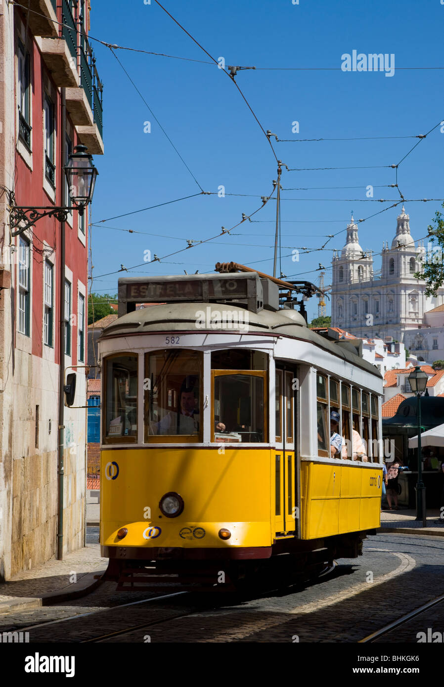 Portugal Lisbon yellow tram in the alfama district - Stock Image