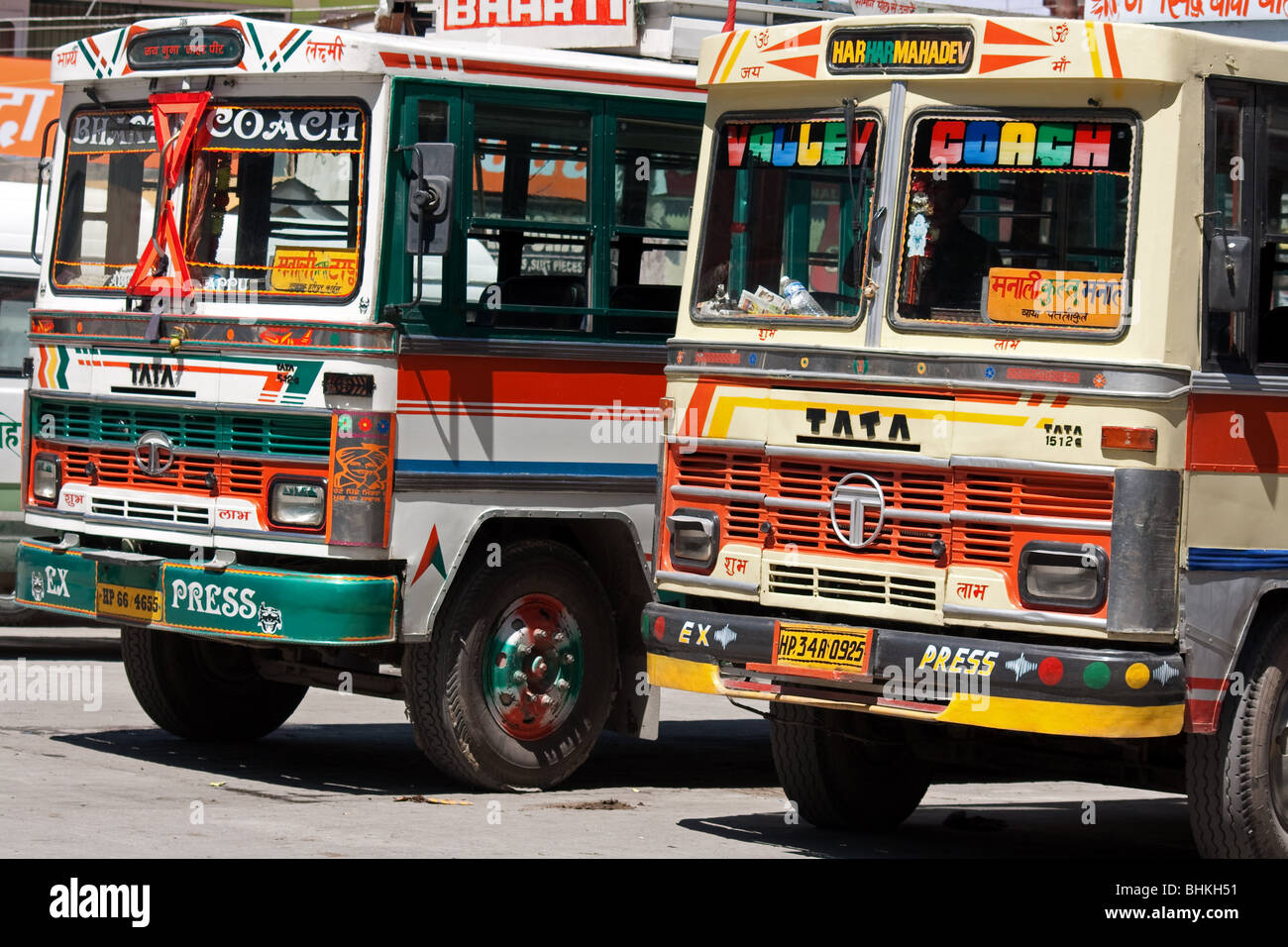 Indian Tata buses in Manali, India - Stock Image