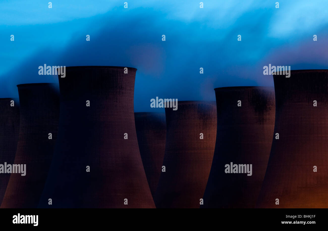 Cooling Towers at Night - Stock Image