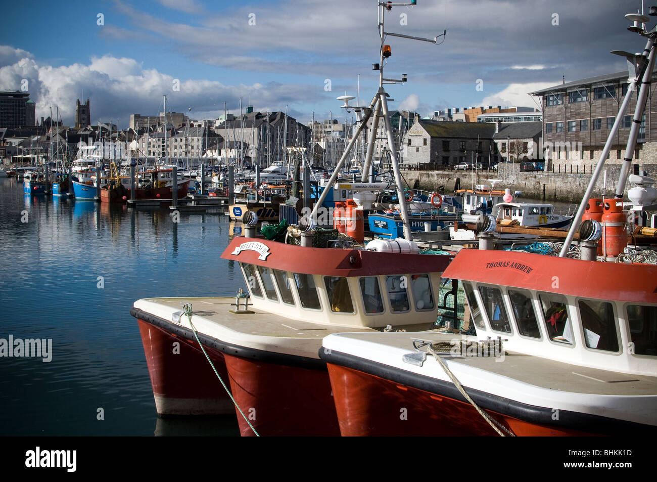 Plymouth harbour and trawlers Stock Photo