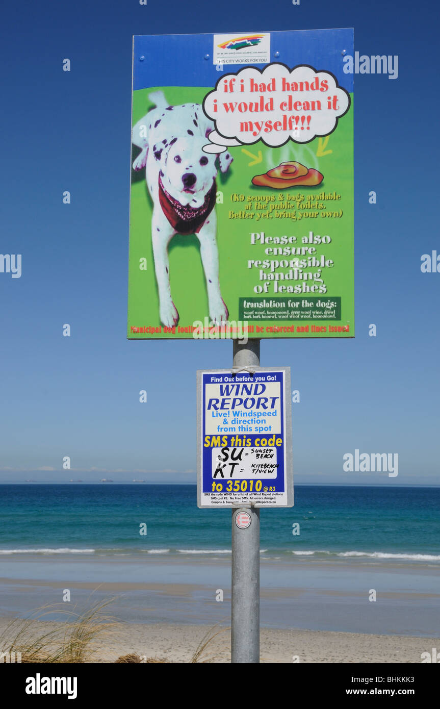 Dog fouling local authority notice on Sunset Beach cape Town South Africa - Stock Image